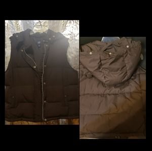 Gap Brown Puffer Vest with hood size Large.